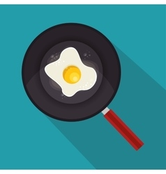 egg fried with pan icon vector image