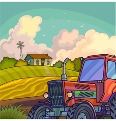Farm rural landscape with field and tractor vector image