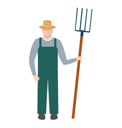 Farmer with a pitchfork in hat and green overalls vector