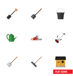 Flat icon farm set of bailer harrow grass-cutter vector