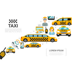 flat taxi service elements set vector image