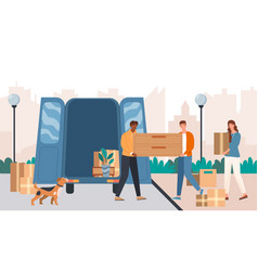 friends are helping to transport furniture to new vector image