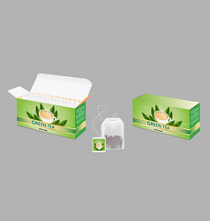 green tea package realistic mockup set vector image