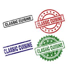 grunge textured classic cuisine stamp seals vector image