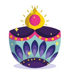 happy diwali festival diya lamp light flame vector image