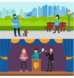 happy people horizontal banners vector image