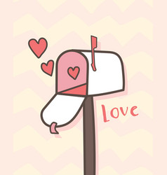 happy valentines day open mailbox with hearts vector image