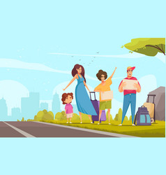 hitchhiking family vector image