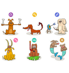 Horoscope zodiac signs set with funny dogs vector