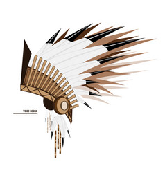 Indian tribal feather hat side view art obj vector