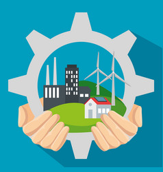 Label gear with wind and solar energy sustainable vector
