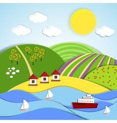 Landscape sea sun and green hills vector