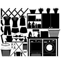 laundry design set a big set laundry vector image