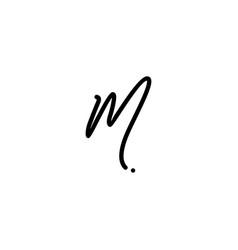 M letter signature handwriting logo vector