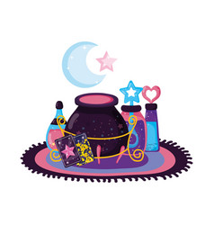 magic witch cauldron with potion bottles vector image