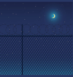 metal fence with barbed wire against vector image