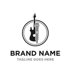microphone and guitar logo design vector image