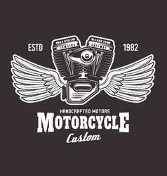 motorcycle engine with wings on dark background vector image