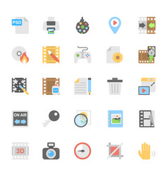 Multimedia flat colored icons 9 vector