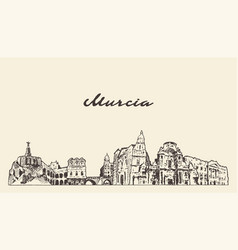 murcia skyline spain hand drawn sketch city vector image