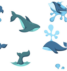 ocean water and dolphin animals seamless pattern vector image