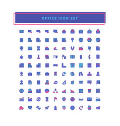 office icons set with filled outline style design vector image
