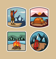 Outdoor camping simple lable vector