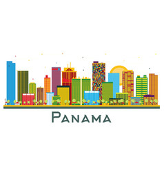 Panama city skyline with color buildings isolated vector