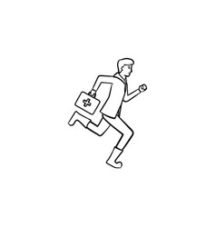 paramedic running with first aid kit hand drawn vector image