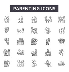 parenting line icons signs set outline vector image