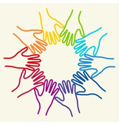 People colorful hands united together vector