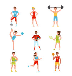 professional sportsmen set players in soccer vector image