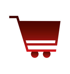 red shopping cart on white background vector image