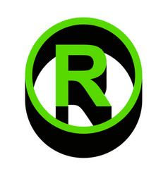 Registered trademark sign green 3d icon vector