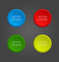 Round banners set color stickers vector