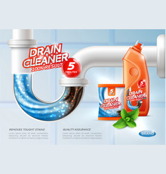 Sanitary drain cleaner poster vector