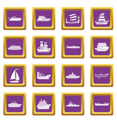 Sea transport icons set purple vector
