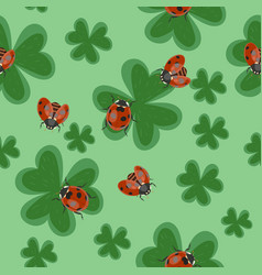 seamless clover texture with ladybugs pattern vector image