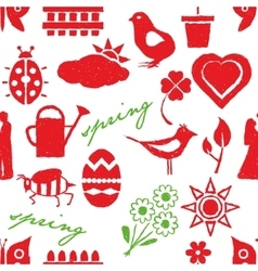 seamless doodle spring pattern vector image