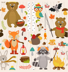 seamless pattern with animals forest vector image