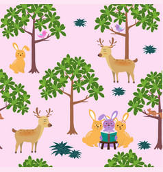 seamless pattern with cute animals in the forest vector image