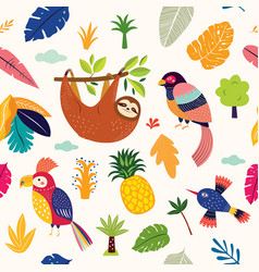 seamless tropical pattern with cute sloth parrots vector image