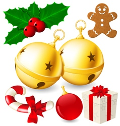 set christmas decoration bells made vector image