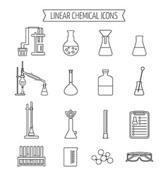 Set of linear chemical icons Flat design Isolated vector image