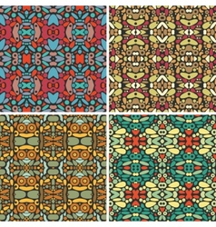 Set of seamless psychedelic ornaments vector image