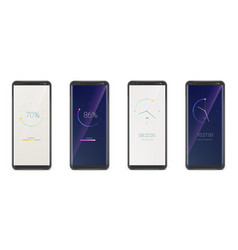 set smartphones with clock and progress bar ui vector image