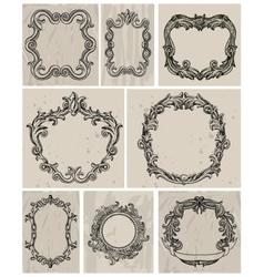 set vintage frames and design elements vector image