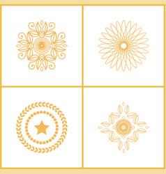 Set water marks golden seals star laurel branches vector
