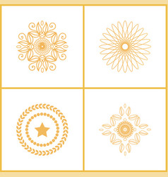 set water marks golden seals star laurel branches vector image