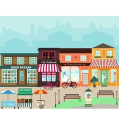 Shops and vitrine elements seamless pattern vector